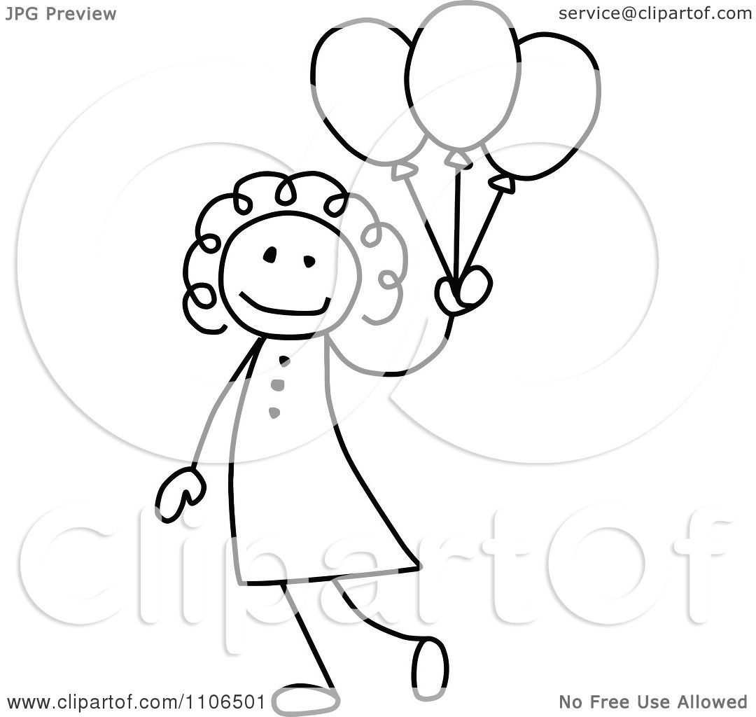 Clipart Black And White Stick Drawing Of A Happy Girl With