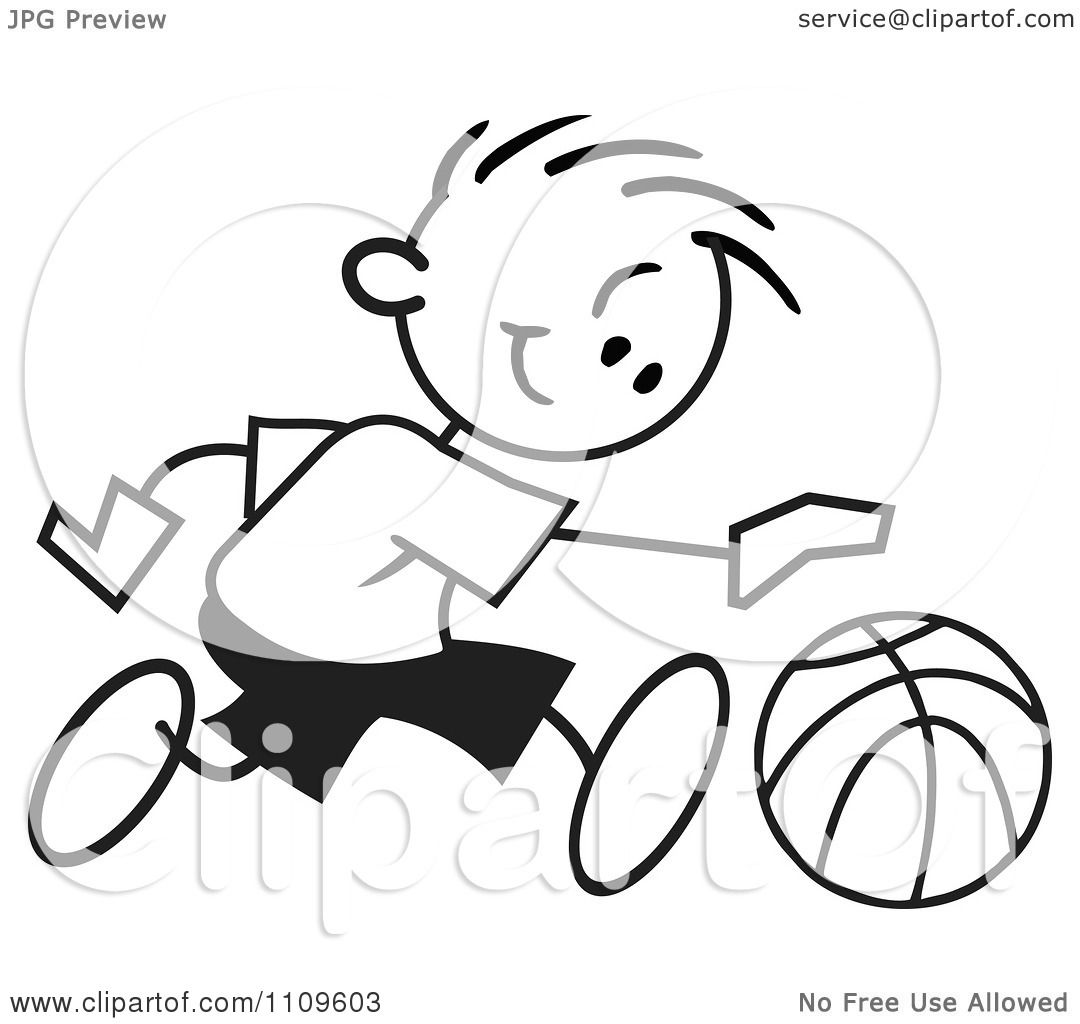 Clipart Black And White Sticker Basketball Player Boy Dribbling