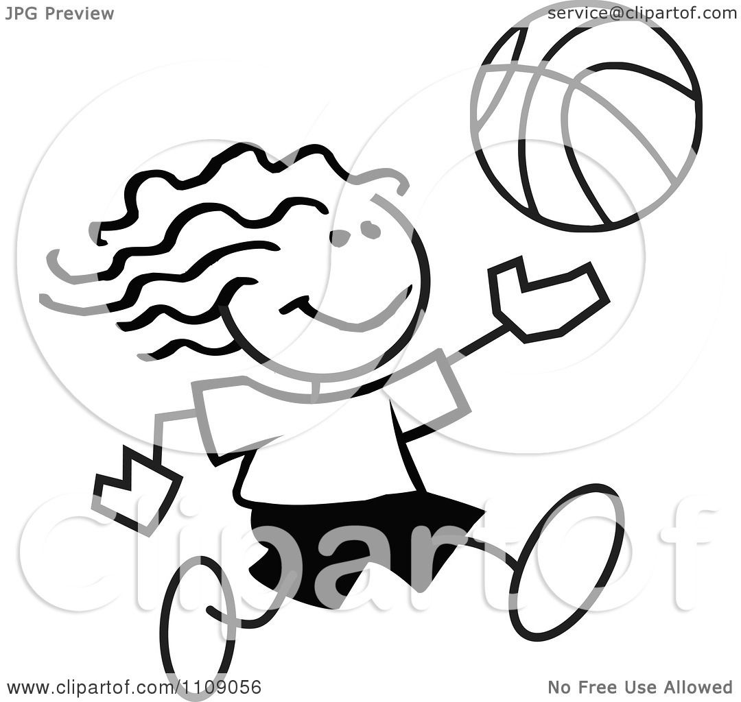 Clipart Black And White Sticker Basketball Player Girl