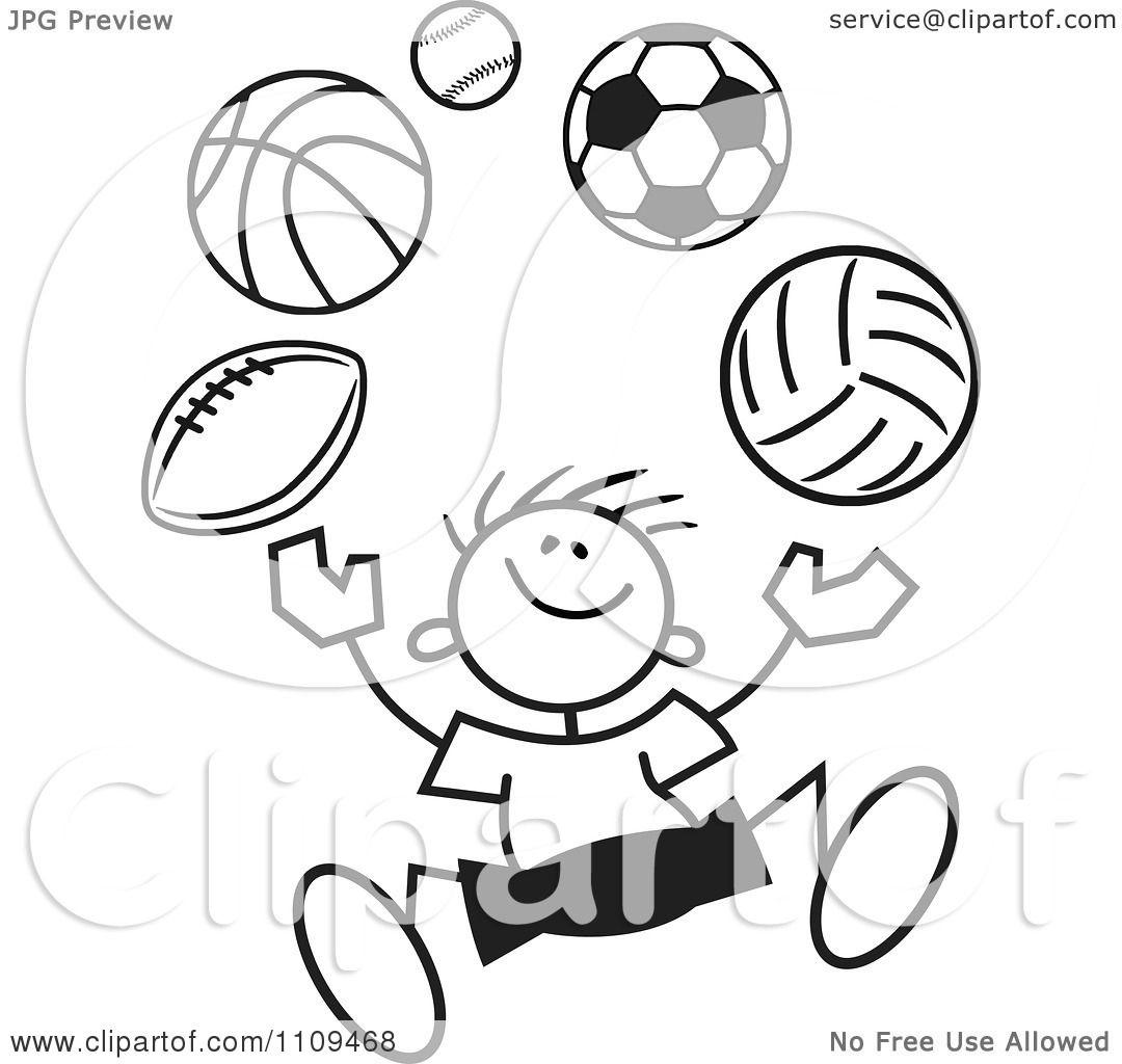 Clipart Black And White Sticker Boy Juggling Balls
