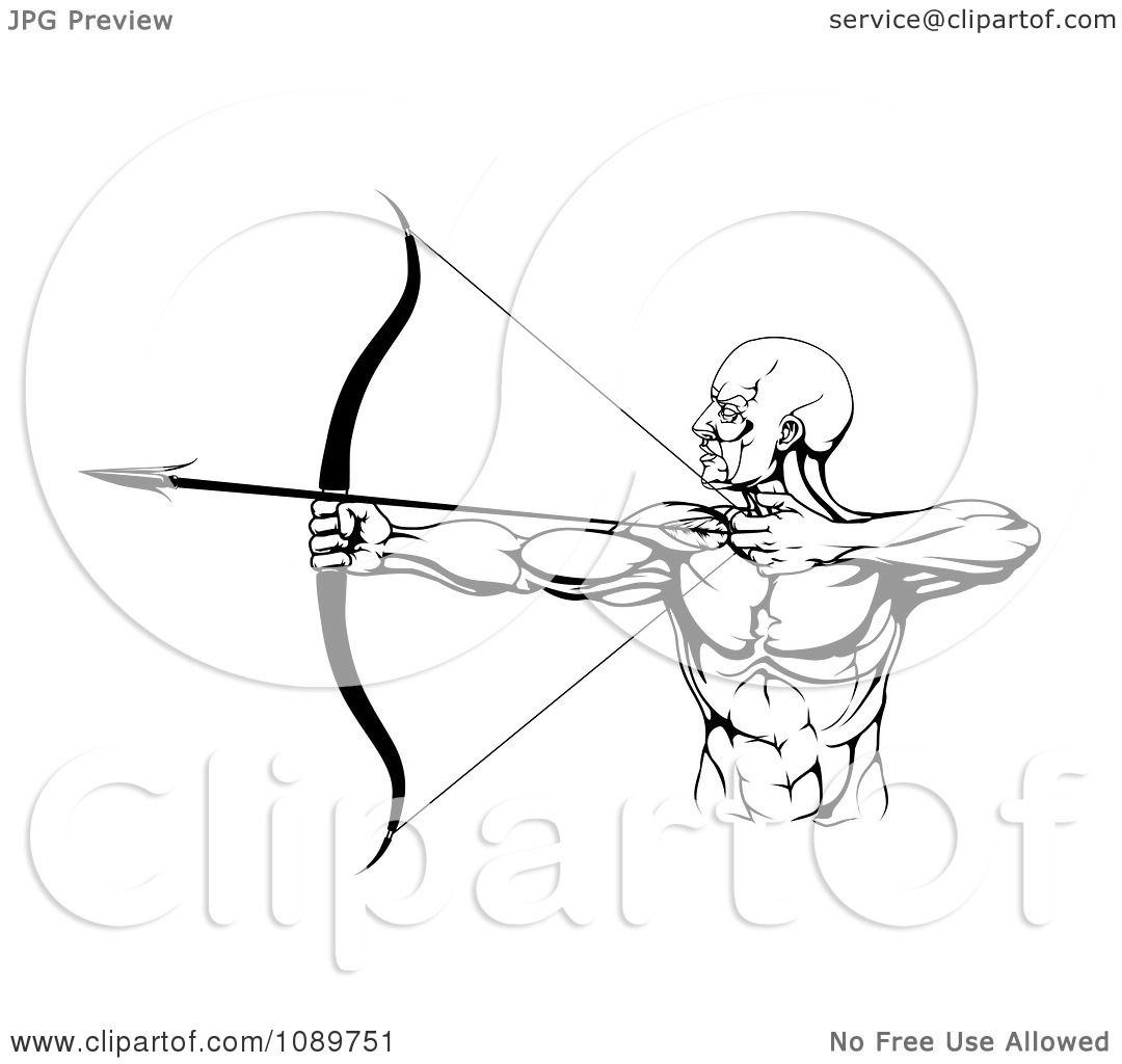 Clipart Black And White Strong Male Archer