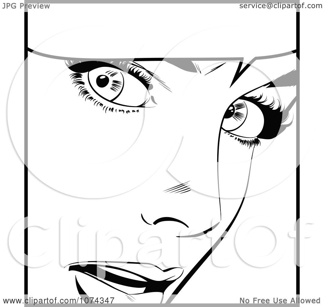 Clipart Black And White Surprised Retro Pop Art Woman And Word Balloon