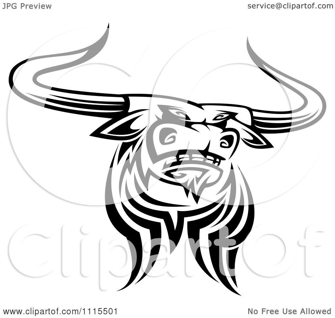Clipart Black And White Tribal Texas Longhorn Steer Bull 4