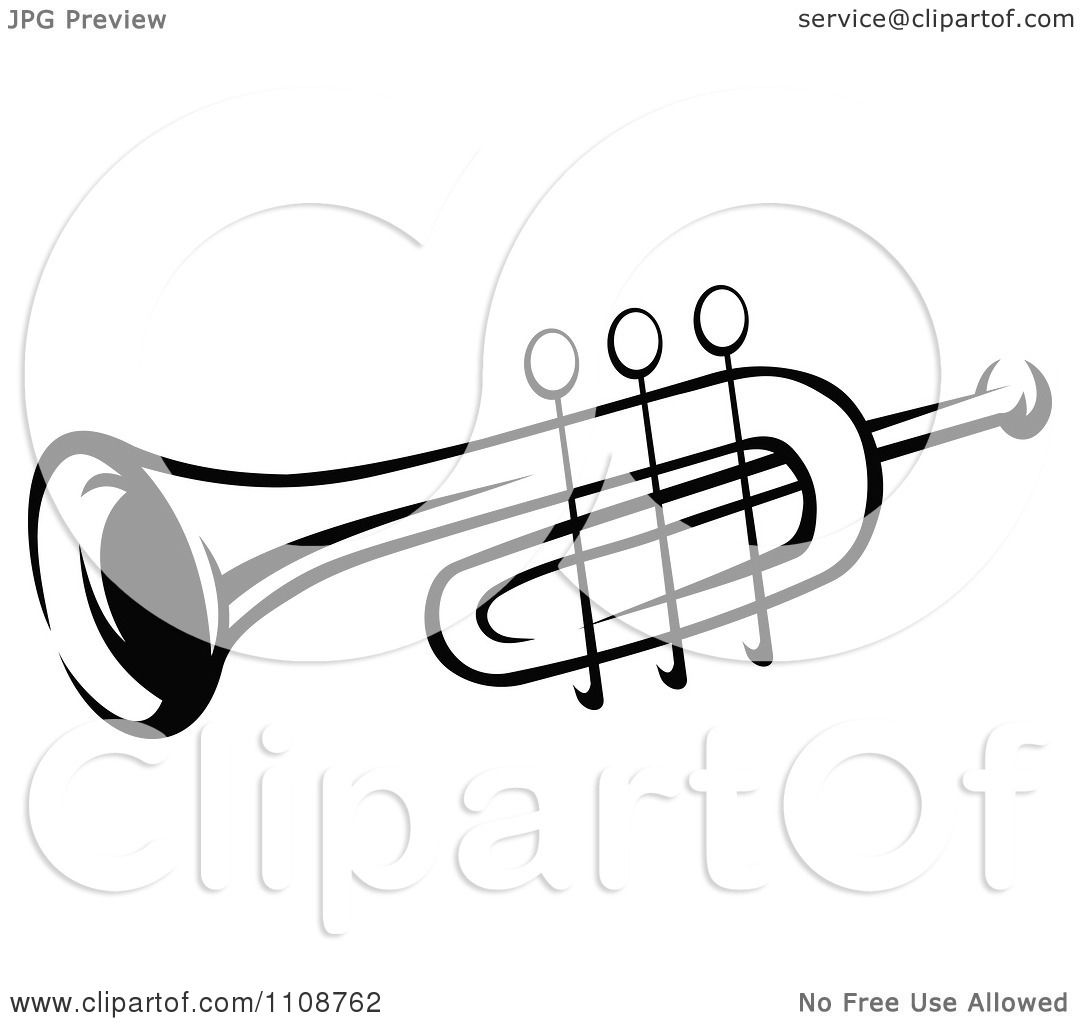 Clipart Black And White Trumpet Musical Instrument