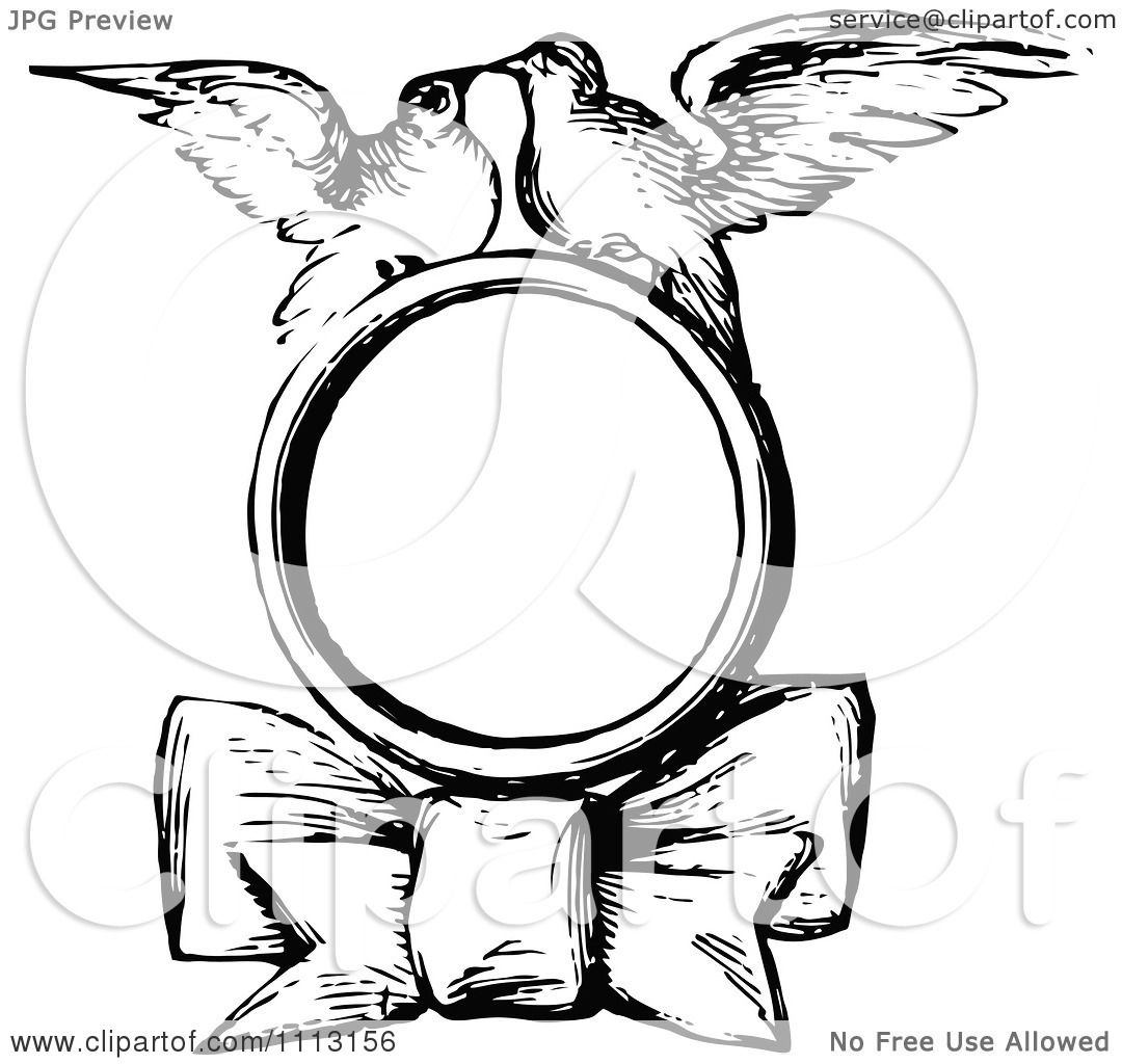 Clipart Black And White Vintage Kissing Bird And Bow Frame