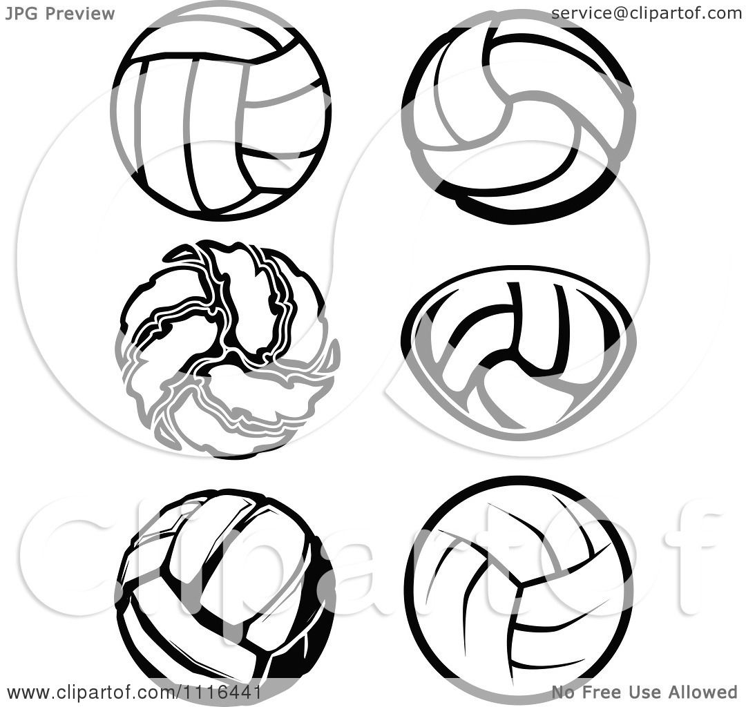 Clipart Black And White Volleyball Designs