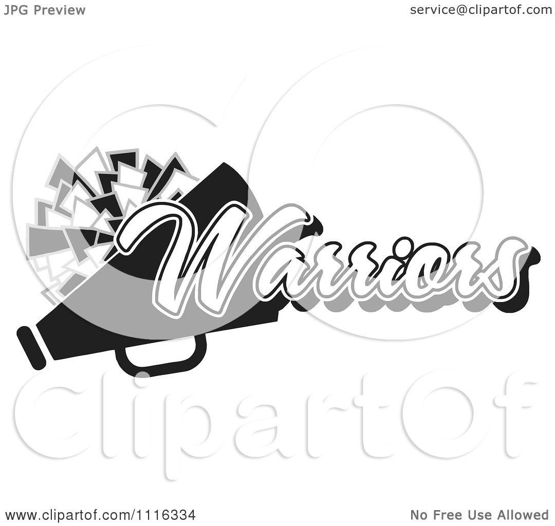 Clipart Black And White Warriors Cheerleader Design