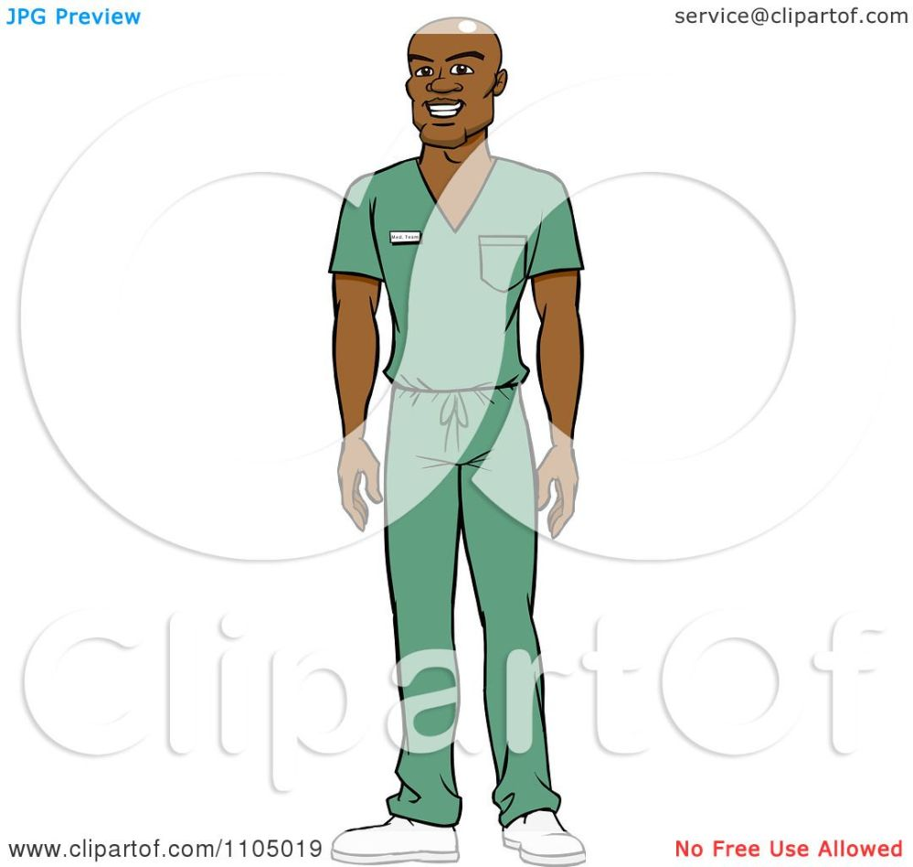 medium resolution of clipart black male doctor surgeon or nurse in green scrubs royalty free vector illustration by cartoon solutions