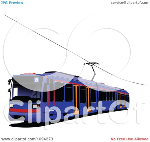Clipart Blue Public Transport Tram - Royalty Free Vector