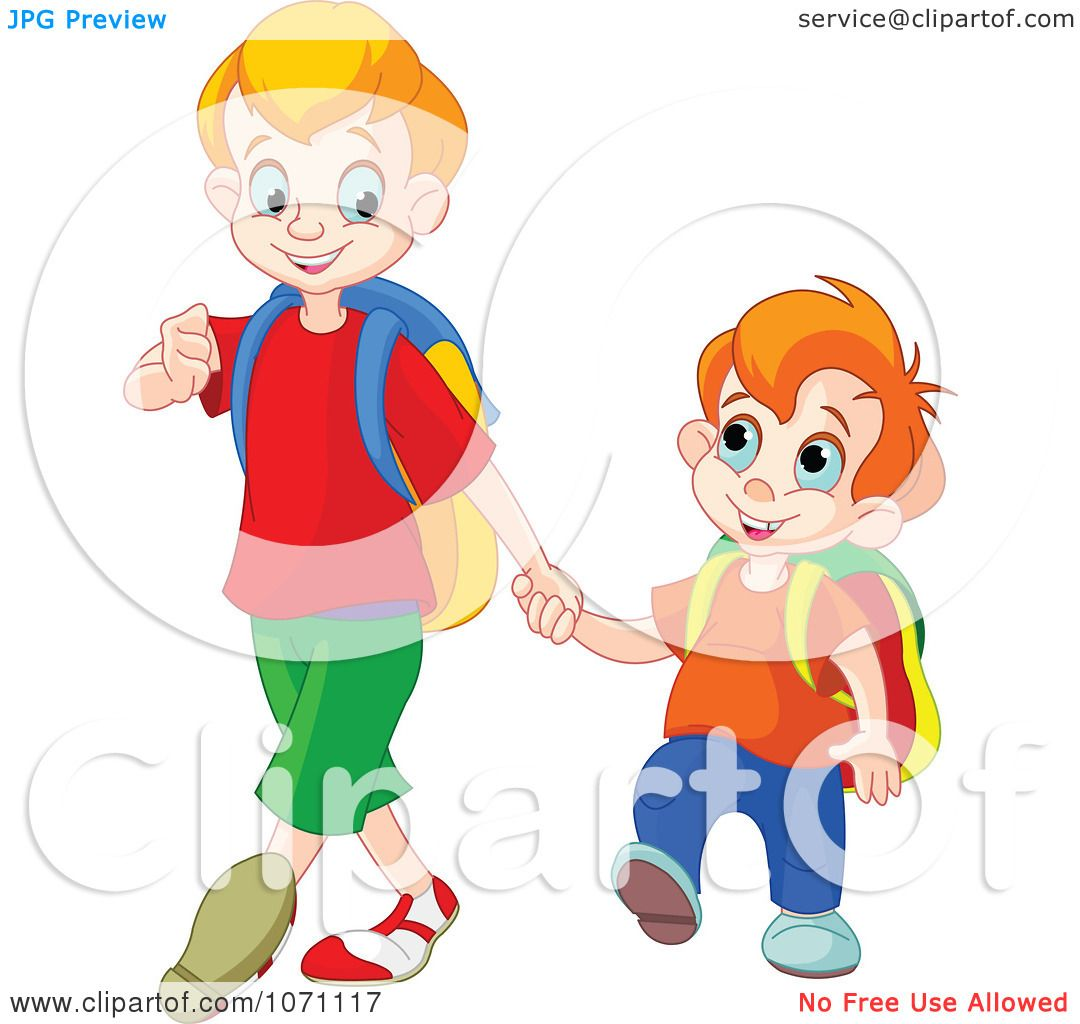 hight resolution of clipart boy walking his little brother to preschool royalty free vector illustration by pushkin