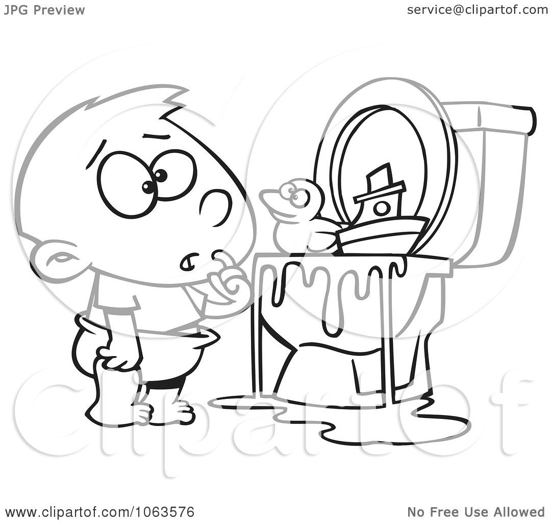 Clipart Boy With Toys In The Toilet Black And White