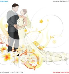 clipart bride and groom dancing with plumerias royalty free vector illustration by atstockillustration [ 1080 x 1024 Pixel ]