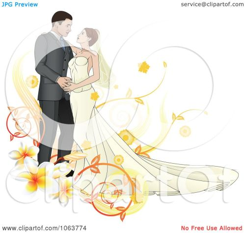 small resolution of clipart bride and groom dancing with plumerias royalty free vector illustration by atstockillustration