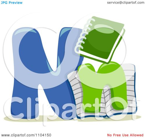 small resolution of clipart capital and lowercase letter n with notebooks royalty free vector illustration by bnp design studio