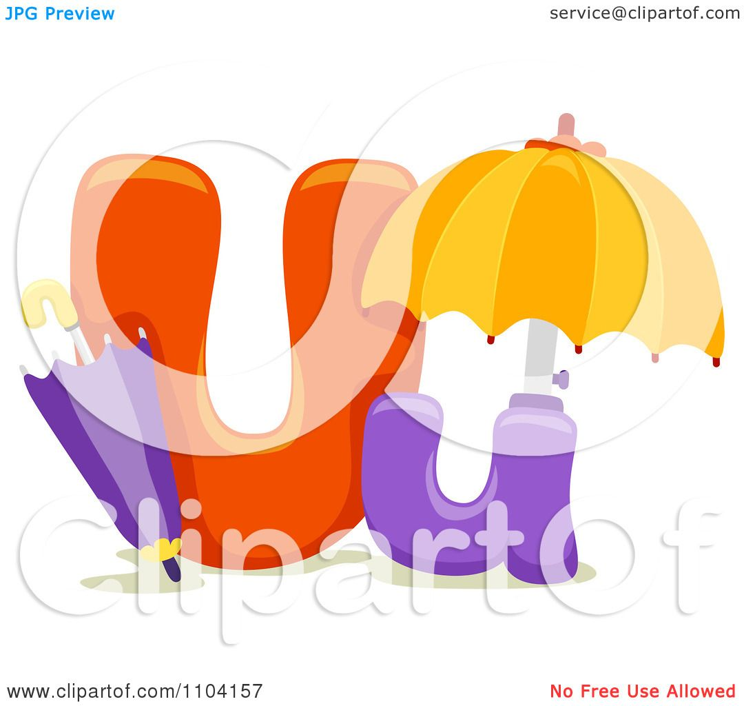 Clipart Capital And Lowercase Letter U With Umbrellas