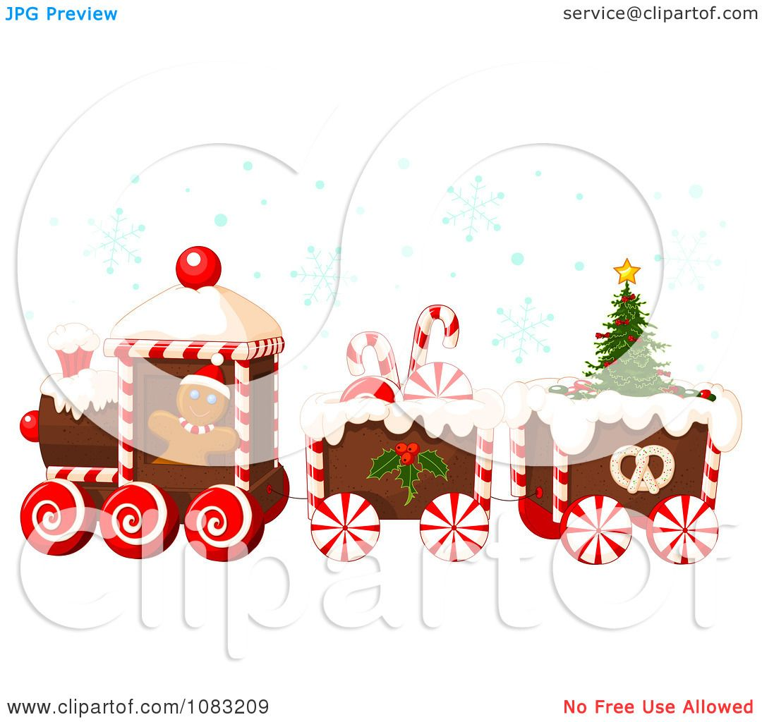 hight resolution of clipart christmas gingerbread train with snow royalty free vector illustration by pushkin