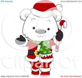 bear christmas polar candy cane santa clipart clip holding illustration royalty vector bnp studio 1080 1024
