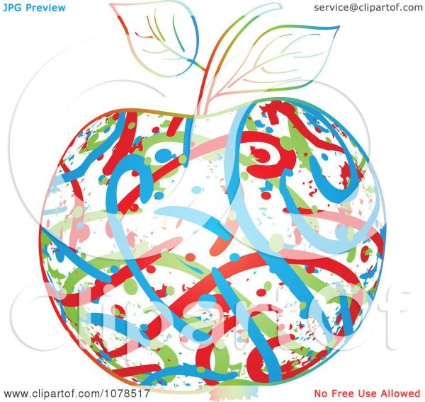 clipart colorful abstract apple