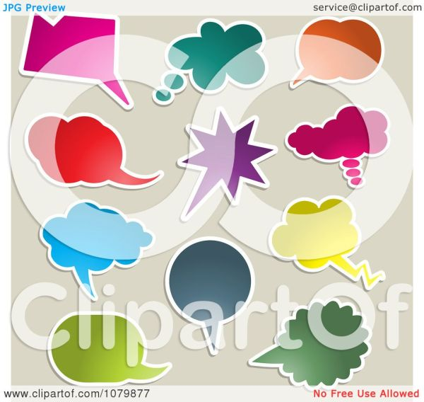 clipart colorful chat balloons