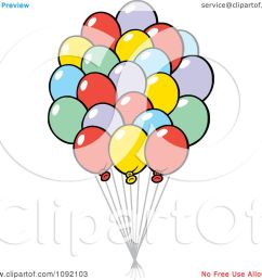 clipart colorful party balloon bouquet royalty free vector illustration by johnny sajem [ 1080 x 1024 Pixel ]