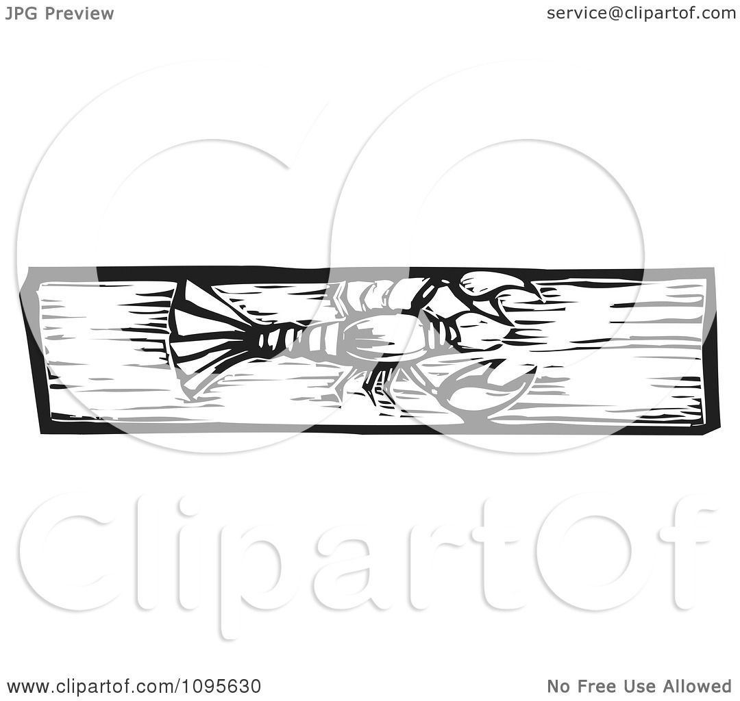Clipart Crawdad Black And White Woodcut