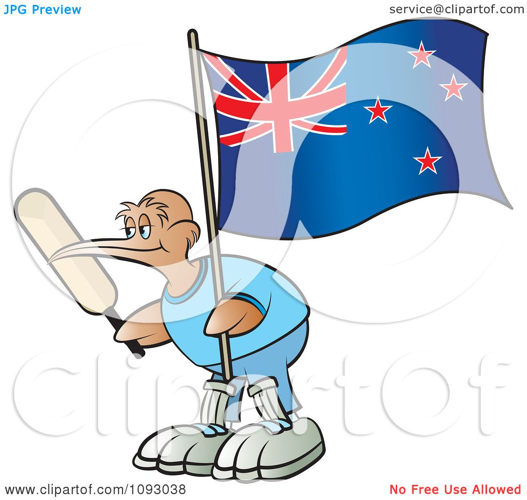 hight resolution of clipart cricket kiwi bird holding a bat and new zealand flag royalty free vector illustration by lal perera
