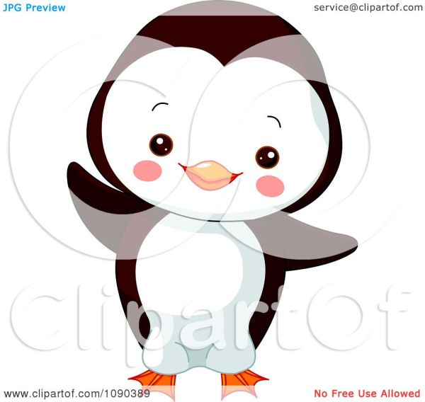 Clipart Cute Baby Zoo Penguin Dancing - Royalty Free
