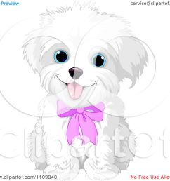 clipart cute bichon frise or maltese puppy dog wearing a pink bow royalty free vector [ 1080 x 1024 Pixel ]