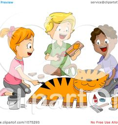 clipart cute diverse school children making a tiger in art class royalty free vector illustration [ 1080 x 1024 Pixel ]