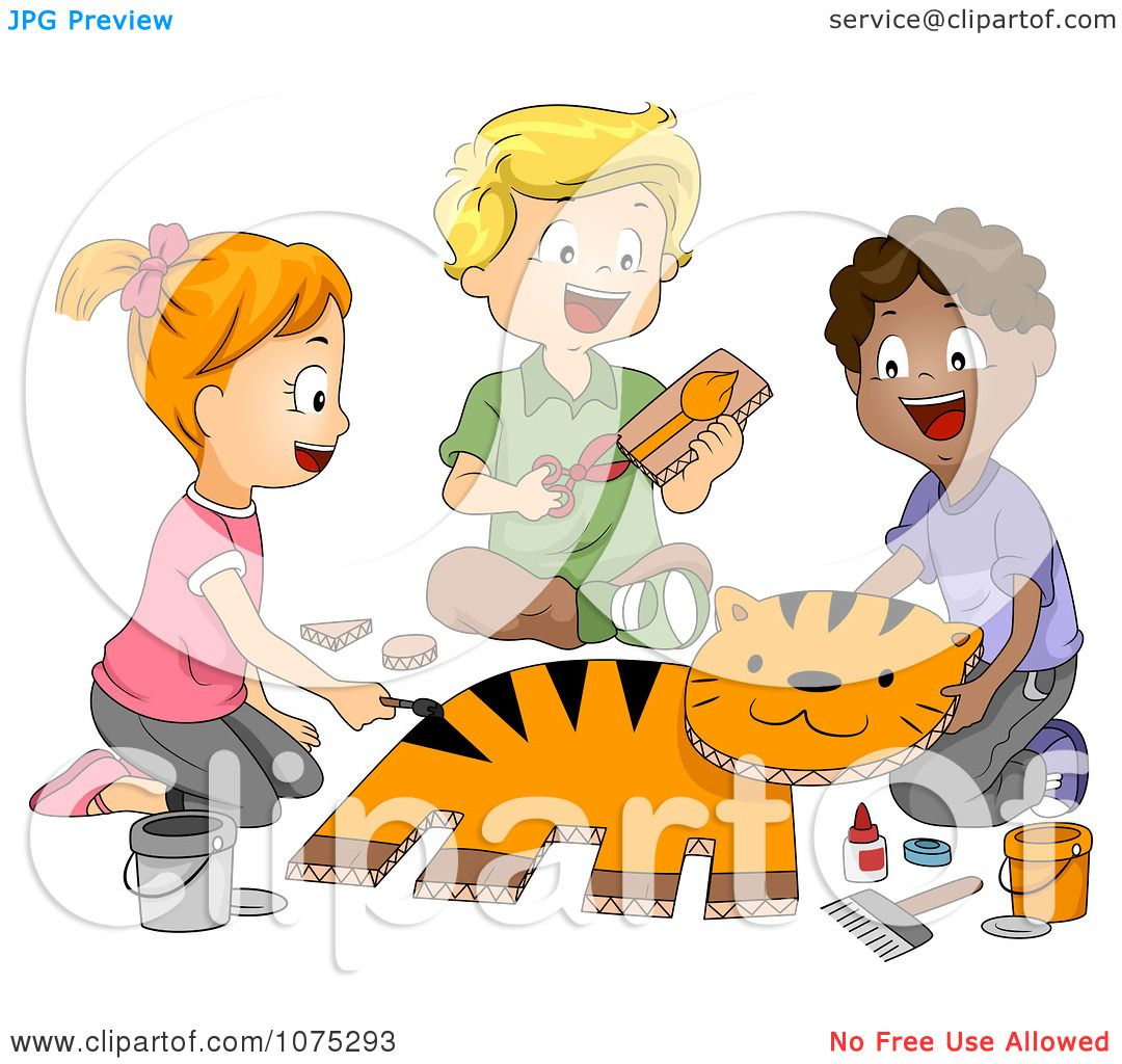 hight resolution of clipart cute diverse school children making a tiger in art class royalty free vector illustration