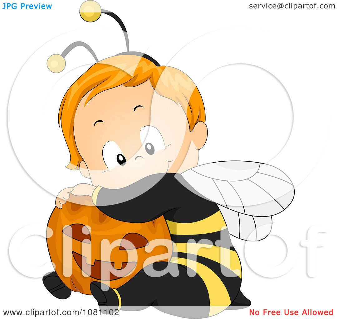 Clipart Cute Halloween Baby In A Bee Costume Hugging A