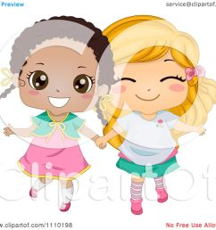 clipart cute happy best friend blond and black girls holding hands royalty free vector illustration [ 1080 x 1024 Pixel ]