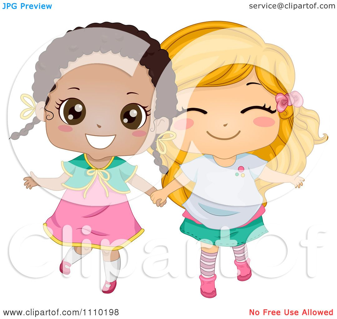 hight resolution of clipart cute happy best friend blond and black girls holding hands royalty free vector illustration
