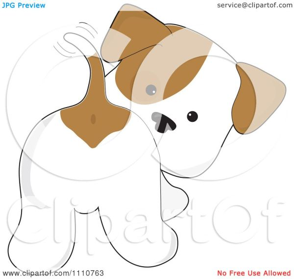 Clipart Cute Puppy And Wagging Tail