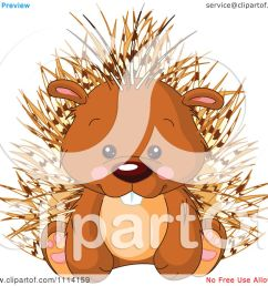 clipart cute sitting porcupine royalty free vector illustration [ 1080 x 1024 Pixel ]