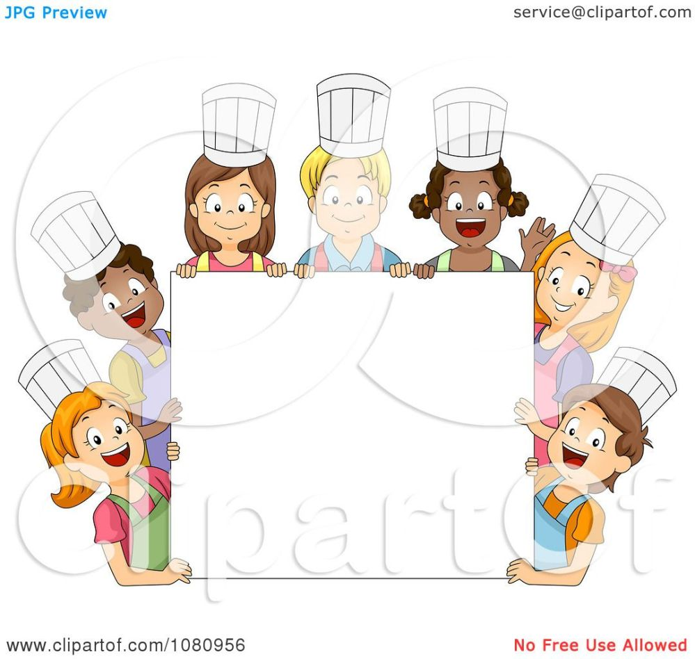 medium resolution of clipart diverse kids wearing chef hats around a blank sign