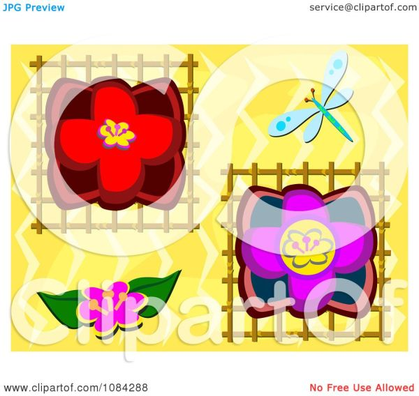clipart dragonfly with lotus flowers