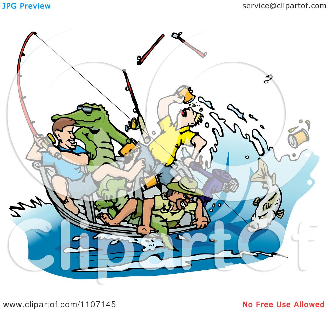 hight resolution of clipart drunk men fishing with an alligator in the boat and a big fish on a