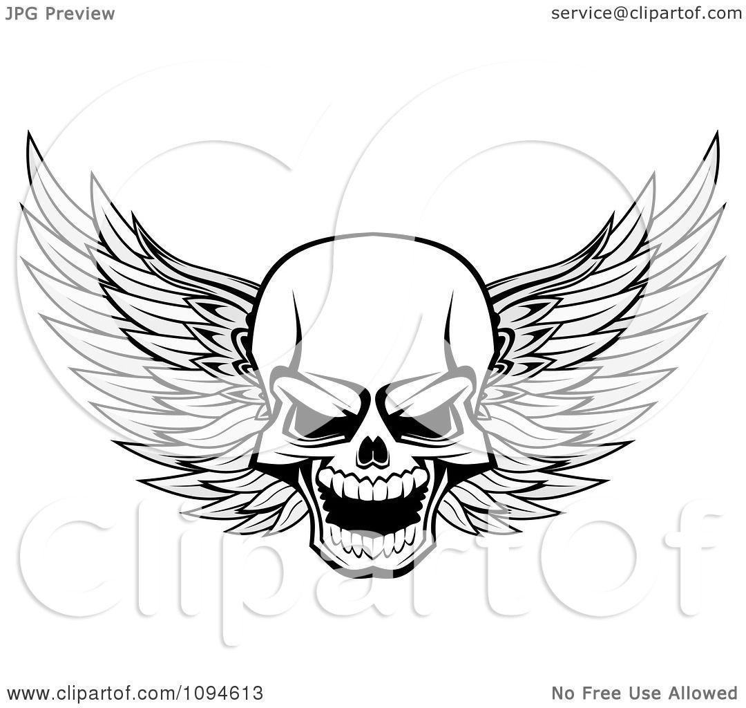 Clipart Evil Winged Skull Black And White