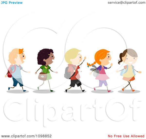 Clipart Excited Diverse School Kids Walking In Line - Royalty Free Vector Illustration Bnp