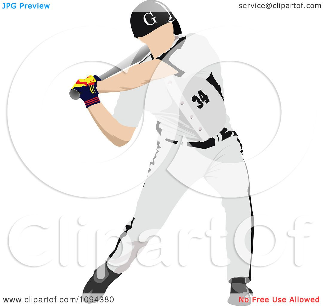 hight resolution of clipart faceless baseball player batting 2 royalty free vector illustration by leonid