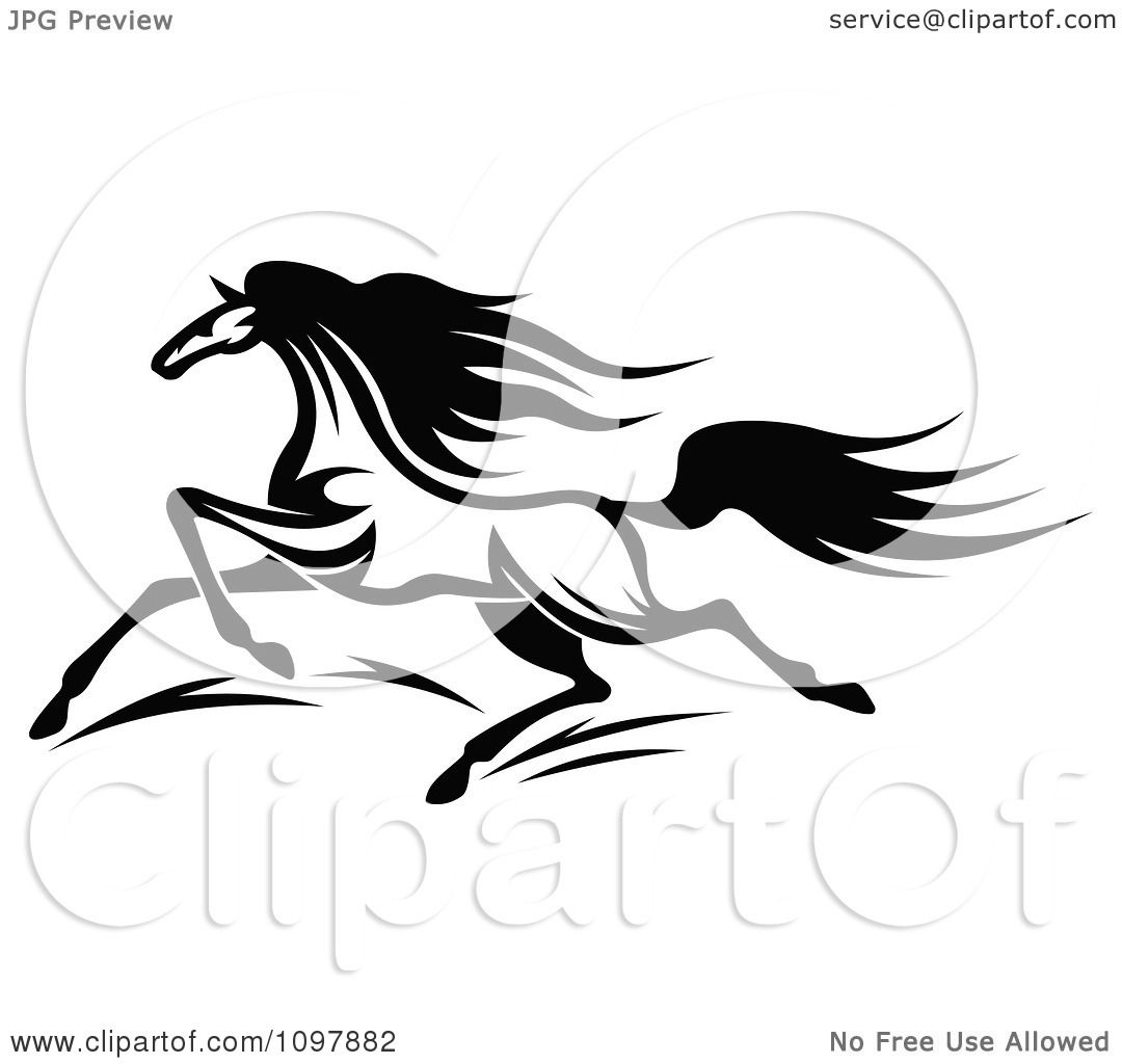 Clipart Fast Black And White Horse Running 1