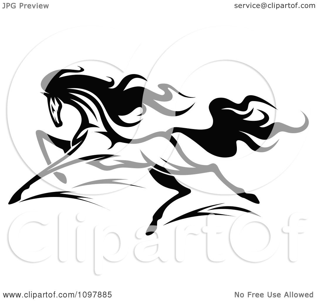 Clipart Fast Black And White Horse Running 2