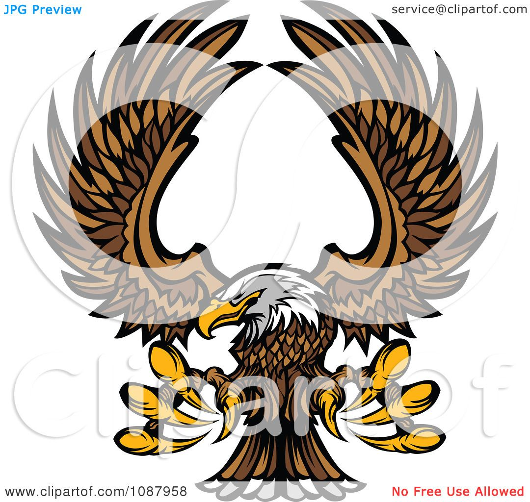 hight resolution of clipart flying bald eagle mascot with extended talons royalty free vector illustration by chromaco