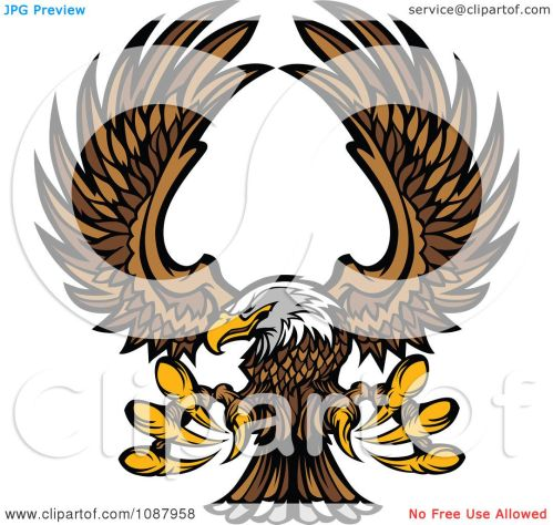 small resolution of clipart flying bald eagle mascot with extended talons royalty free vector illustration by chromaco