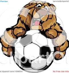 clipart friendly bear mascot holding out a soccer ball royalty free vector illustration by chromaco [ 1080 x 1024 Pixel ]