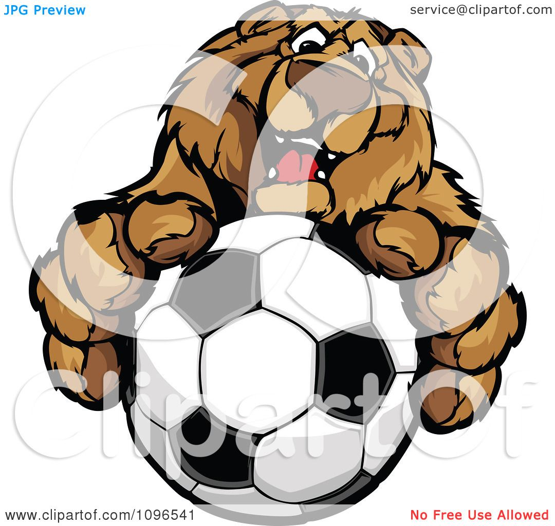hight resolution of clipart friendly bear mascot holding out a soccer ball royalty free vector illustration by chromaco