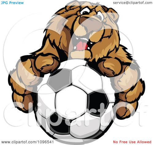 small resolution of clipart friendly bear mascot holding out a soccer ball royalty free vector illustration by chromaco