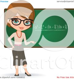 clipart friendly brunette female math teacher with glasses presenting a chalkboard royalty free vector illustration by melisende vector [ 1080 x 1024 Pixel ]