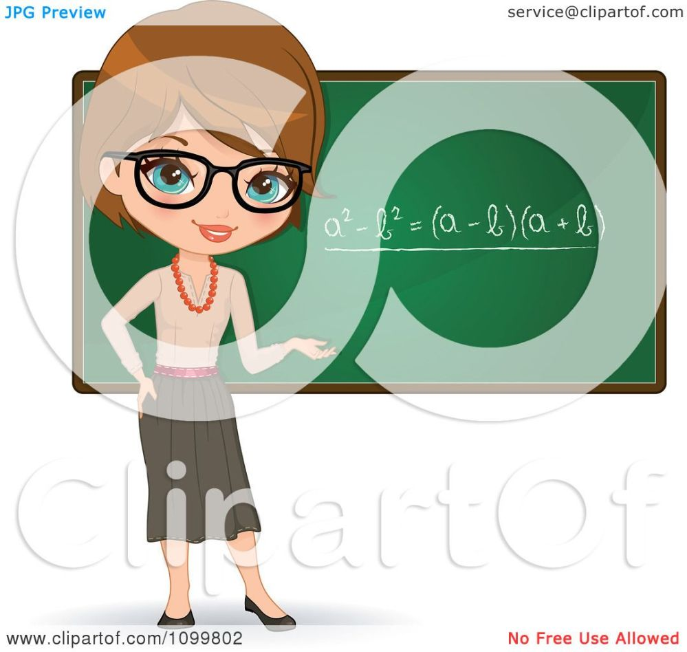 medium resolution of clipart friendly brunette female math teacher with glasses presenting a chalkboard royalty free vector illustration by melisende vector